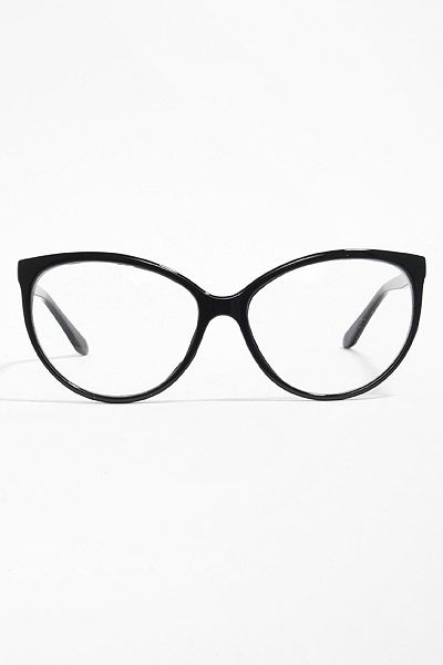 'Alvina' Thin Cat Eye Clear Glasses - Black