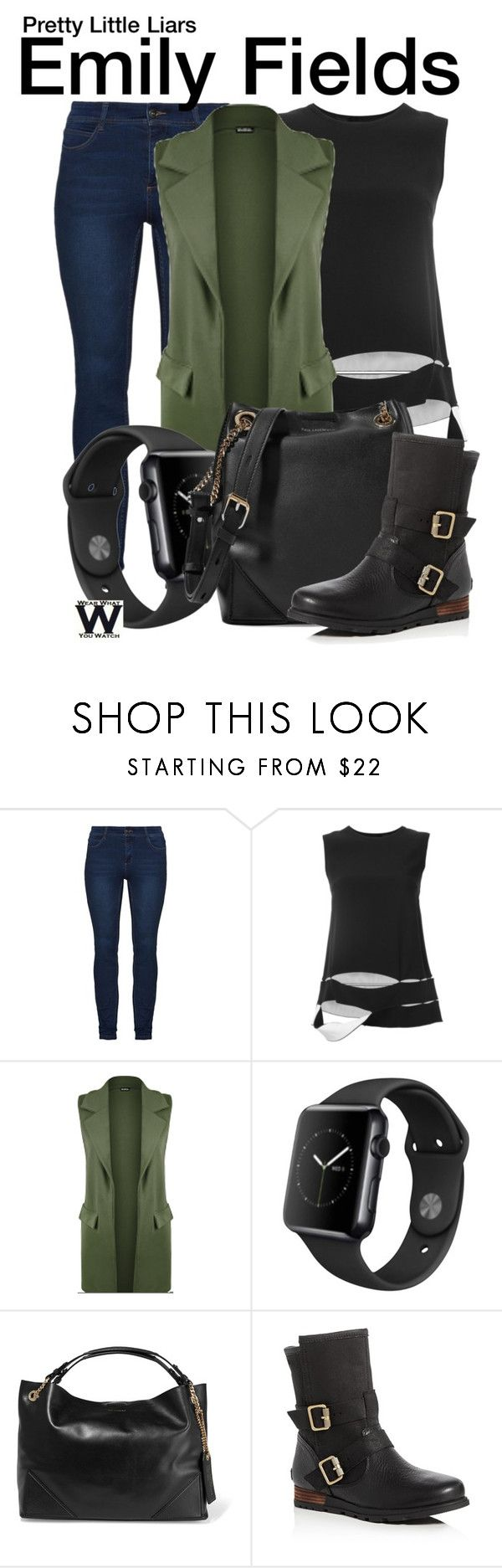 """""""Pretty Little Liars"""" by wearwhatyouwatch ❤ liked on Polyvore featuring Proenza Schouler, WearAll, Apple, Karl Lagerfeld, SOREL, television and wearwhatyouwatch"""