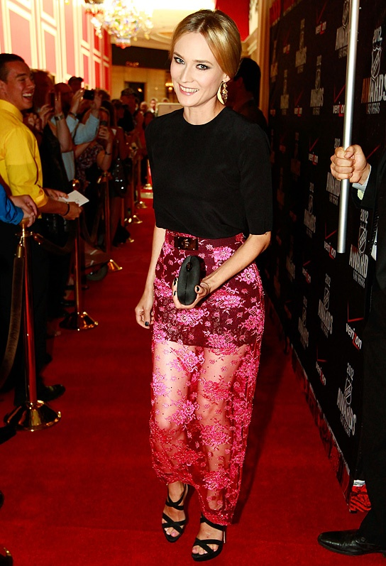 Diane Kruger in a delicately-embroidered sheer fuchsia skirt by Alessandra Rich at the NHL Awards in Las Vegas, Nevada.Fashion, Celebrities Style, Krugeralway Dresses, Redcarpet, Alessandra Rich, Red Carpets, Best Dresses, Emma Stones, Diane Krugeralway