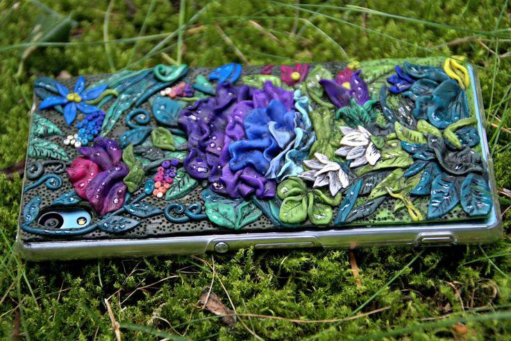 diy secret garden phone case skin polymer clay tutorial flowers
