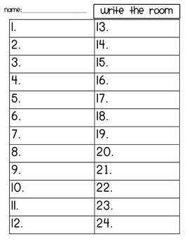 This recording sheet can be used with my CVC Write the Room activity or other write the room activities....