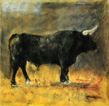 "Saatchi Online Artist Javier Montesol; Printmaking, ""Toro Negro"" #art    ""Black Bull"" by Spanish artist Javier Montesol. Love it!"