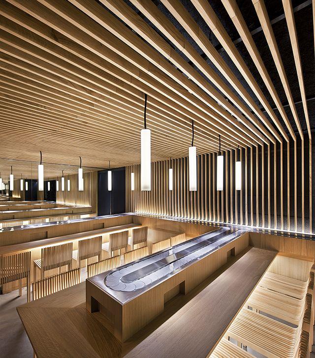 Masturi Restaurant by Moreau Kusunoki architects (conveyor belt sushi/kaiten sushi 回転寿司/くるくる寿司)