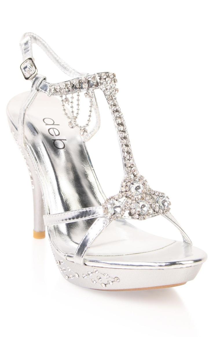 Deb Shops open toe dressy metallic high heels with dangling stones on t-strap