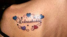 """Unbreakable"" represents bond of Family. The hearts represent the birthstone colors of my children and myself. Our bond is unbreakable <3 <3 <3 #tattoo #family #tattoosforwomen"