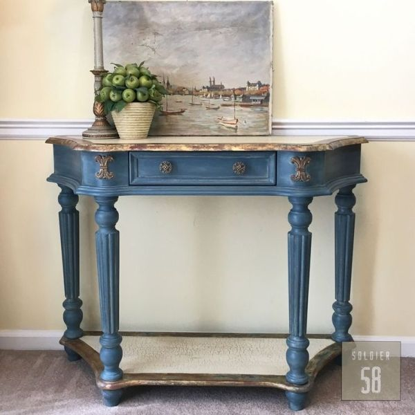 Console Table Transformed With Chalk Paint By Annie Sloan In Aubusson Blue With A Duck Egg Annie Sloan Painted Furniture Blue Chalk Paint Painted Side Tables