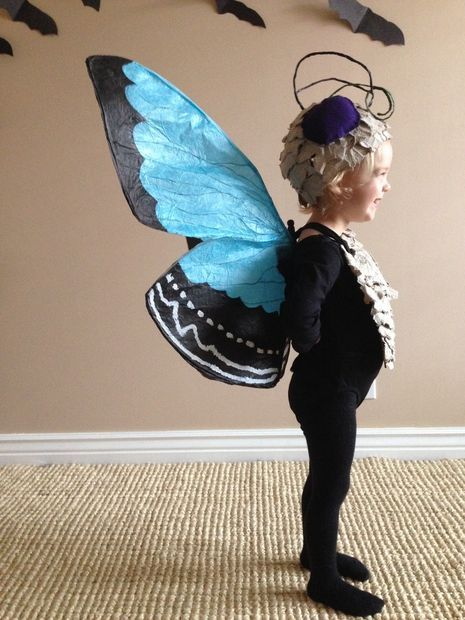 Halloween costume made of paper, egg cartons, and cardboard.