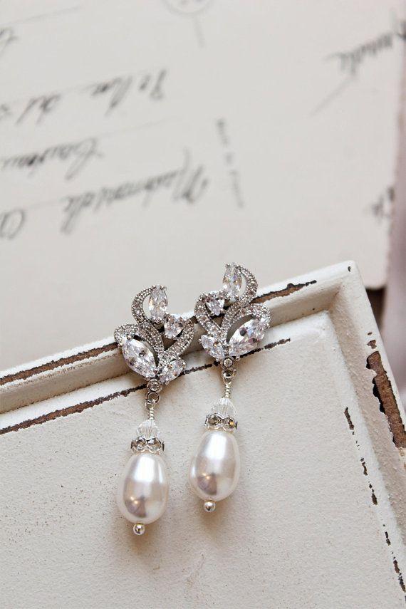 Art Deco Earrings Vintage Style Crystal Pearl Bridal Wedding Drop Stud Earnings Pinterest