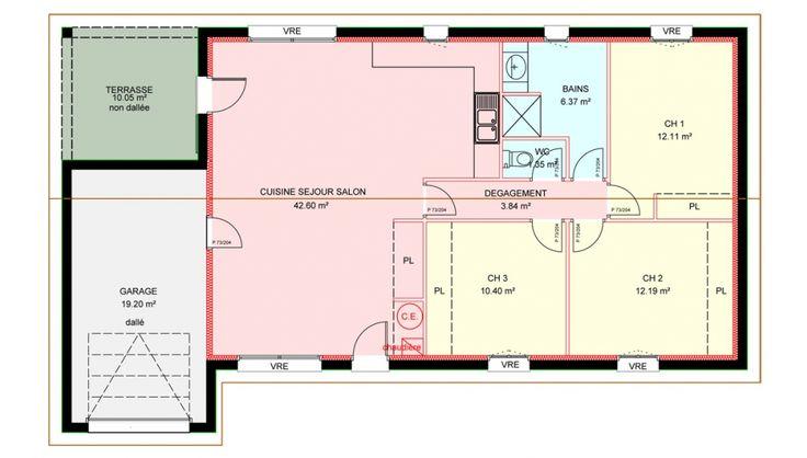 Maisons plain pied 3 chambres de 89 m² construite par Demeures Familiales