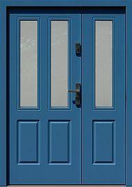 Drzwi zewnętrzne dwuskrzydłowe drewniane model  953,1 w kolorze niebieskie