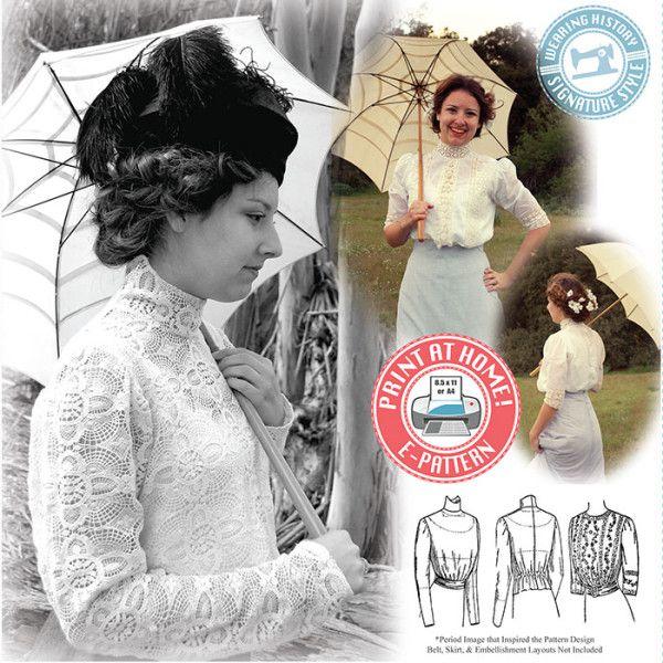 E-Pattern- Edwardian Era 1910s Blouse and Guimpe Pattern