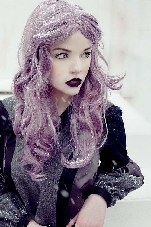 Beautiful Girl with purple hair. Love love LOVE her hair and makeup!!!!