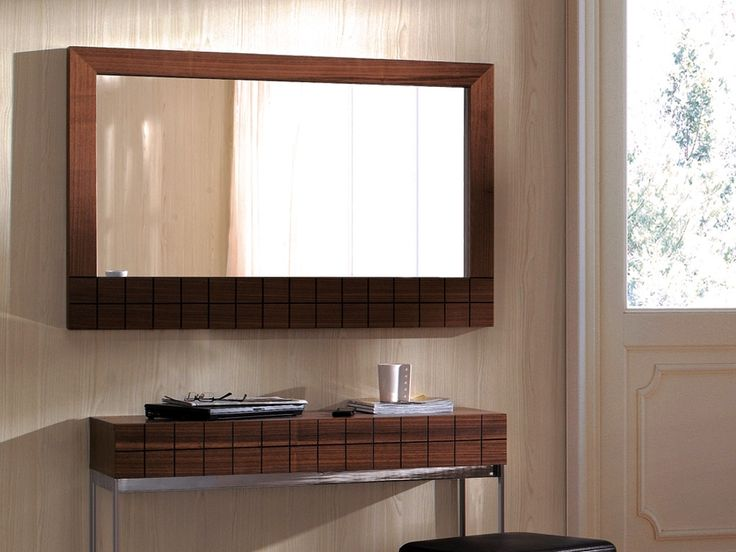 Gillmore Space Barcelona Wall Hanging Mirror in Walnut Veneer - Great sized  contemporary mirror ideal in any room.