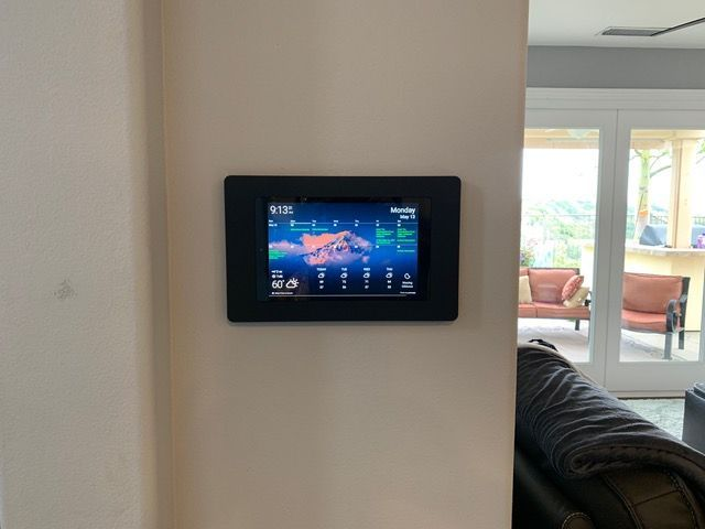 Just Finished My Wall Mounted Tablet Project And Wanted To Share It With You For Inspiration We Re Loving This T Wall Tablet Tablet Wall Mount Ipad Wall Mount