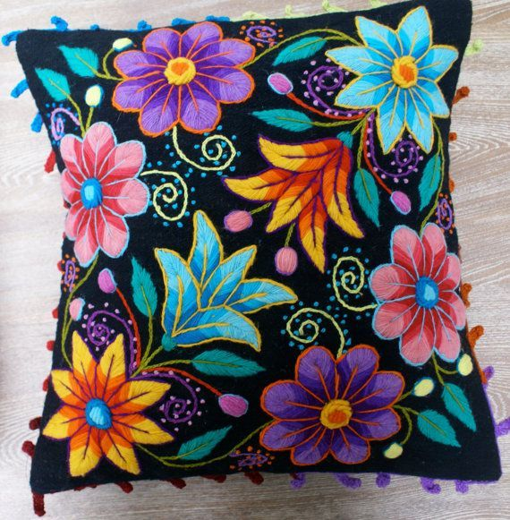 Peruvian Pillow cushion covers Hand embroidered flowers Sheep & alpaca wool 16 x 16 handmade 2 Black Peruvian Pillow cushion covers Hand embroidered flowers por khuskuy Cushion Embroidery, Embroidered Cushions, Silk Ribbon Embroidery, Embroidered Flowers, Embroidery Stitches, Embroidery Patterns, Hand Embroidery, Baby Moccasin Pattern, Mexican Embroidery