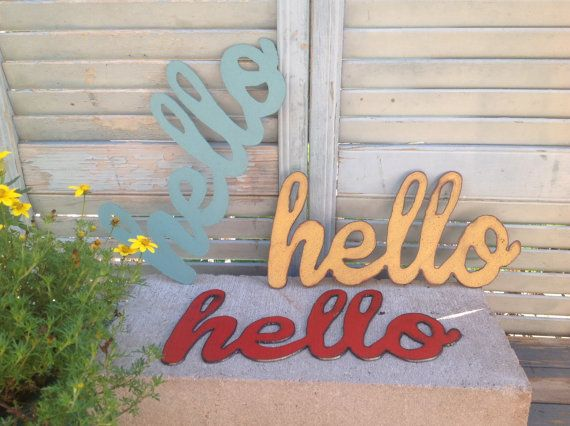 Hello Metal Hello word art hello sign by northwindmetalart on Etsy
