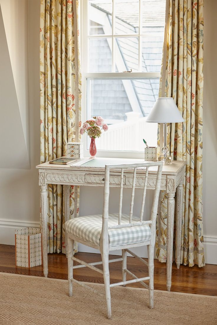 Beach house Bedroom with a Gustavian style desk and bamboo chair   Bedroom  Design Detail  Home Office  Kids  Coastal  Cottage  Scandinavian by Liliane Hart Interiors