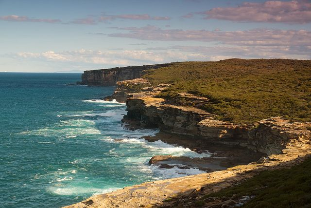 The rugged cliffs of the Royal National Park's coastline, New South Wales, Australia.