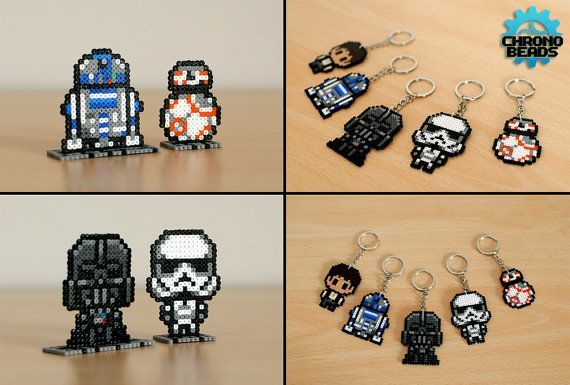 Star Wars - Star Wars Day - Darth Vader Stormtrooper R2-D2 BB8 Han Ian Solo - Keychain - hama beads - perler beads - stand