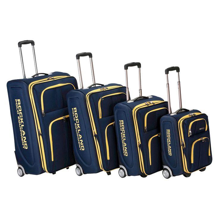 Rockland Varsity Polo Equipment 4pc Luggage Set - Navy (Blue)