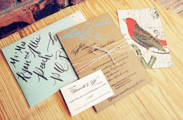 i wish i knew people in real life who were this creative!Diy Wedding Invitations, Kraft Paper, Birds Theme, Vintage Rustic, Invitations Ideas, Design, Simple Wedding, Rustic Wedding Invitations, Wedding Calligraphy