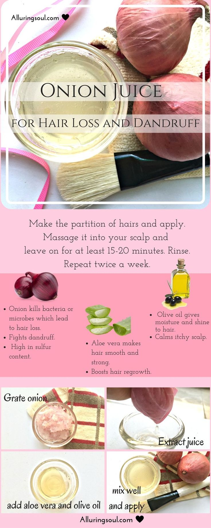 Onion juice for hair loss is the proved remedy for hair and scalp problem. It contains sulfur which makes hair strong which ultimately prevents hair loss.
