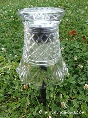 Dress up solar lights - put pretty glass pieces over them