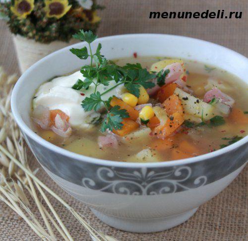 Суп с копченой индейкой, беконом и кукурузой