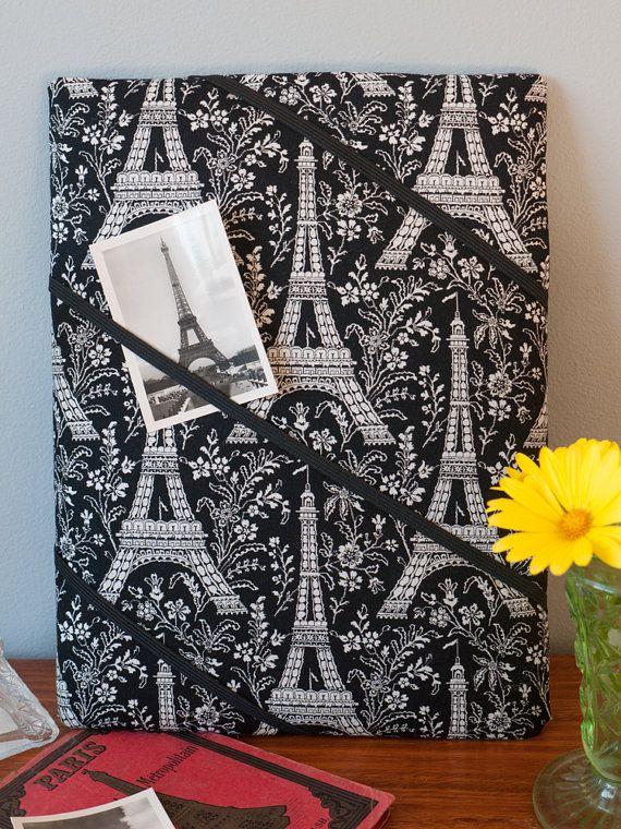 Black Eiffel Tower Paris handmade fabric bulletin by freshdarling