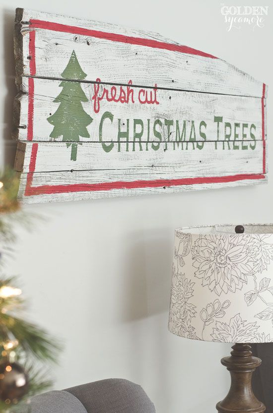 Vintage rustic barn wood Christmas trees sign - thegoldensycamore.com