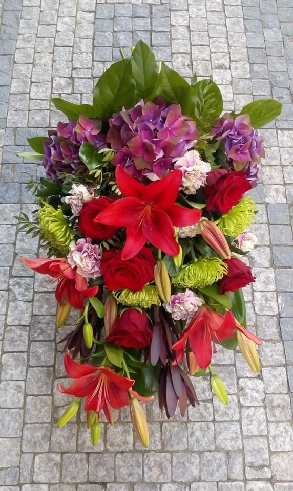 Funeral flowers bouquet - lilly, rose, carnation, hydrangea, shamrock, leucadendron