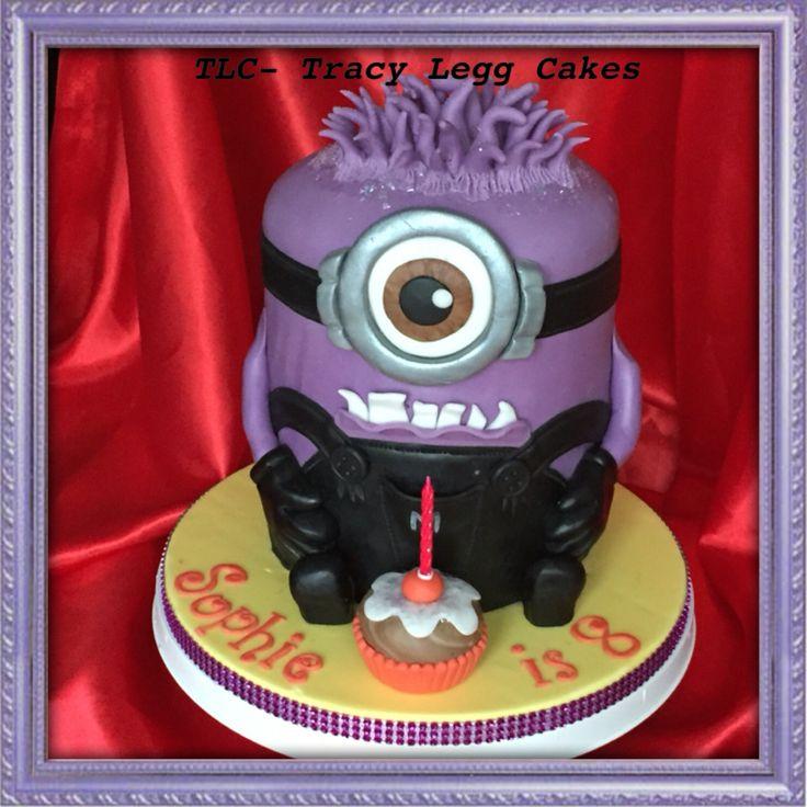 Purple minion double tier cake