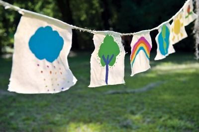Inspired by Tibetan prayer flags, these playful garlands will spread happy thoughts throughout your garden! | Homemade Crafts for Kids - Parenting.com