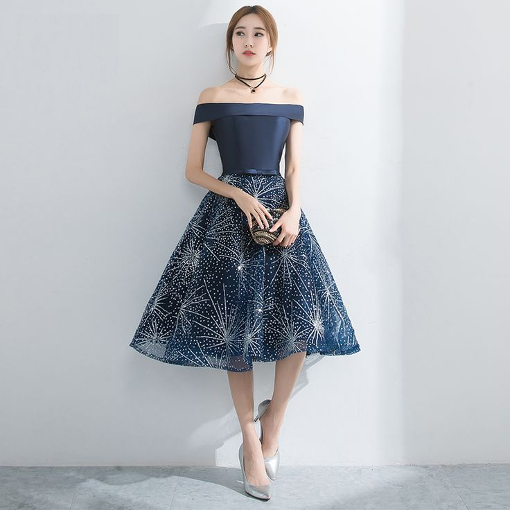 PotNu0027Patio Elegant Boat Neck Short Prom Dresses 2017 New Navy Blue  Homecoming Dresses Semi