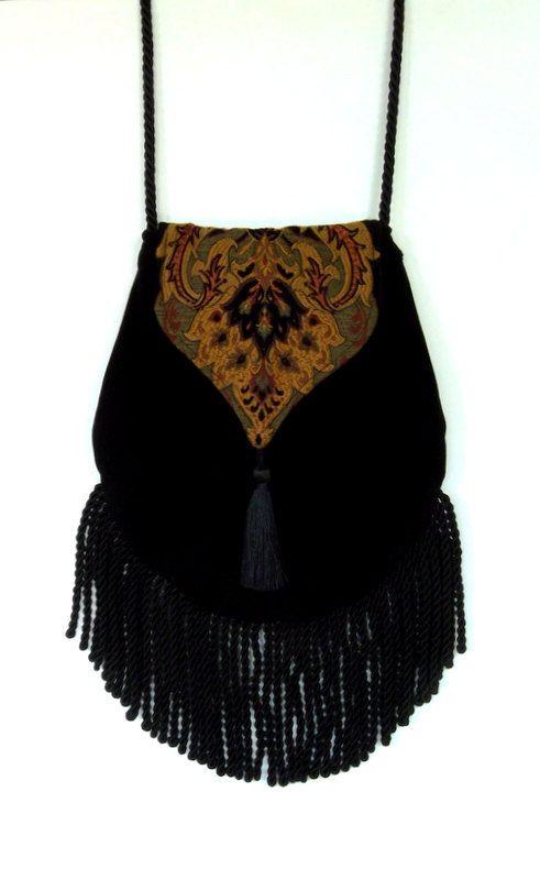 Fringed Tapestry Gypsy Bag Black Cross Body Bag Bohemian  Indie bag renaissance bag