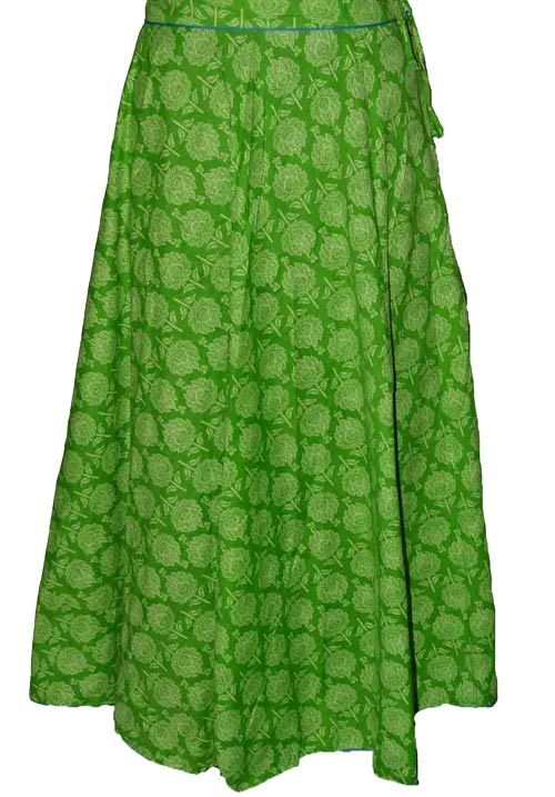 Parrot Green Coloured Block Print Jaipuri Wraparound Skirt  http://alicolors.com/index.php?route=product/product&product_id=1172