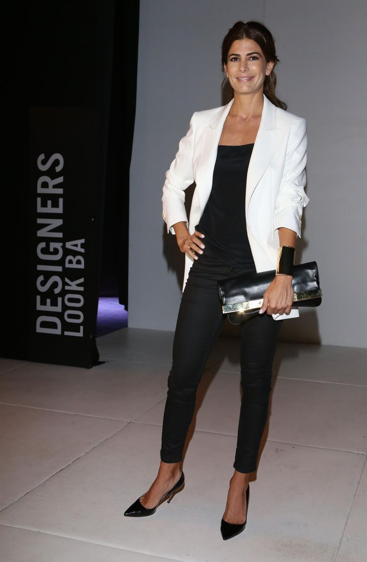 Juliana Awada, Black and White Outfit, Pointed toe pumps, Beauty in High Heels #Fashion