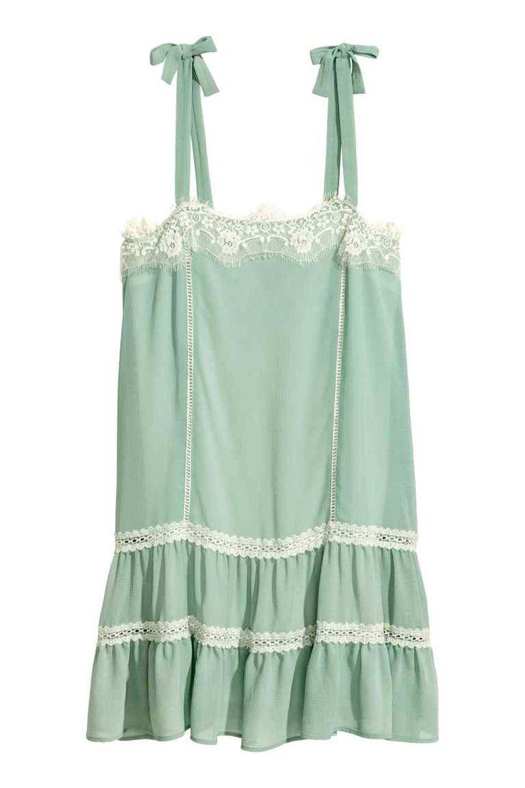 Rochie fără mâneci cu dantelă - Verde-întunecat - FEMEI | H&M RO