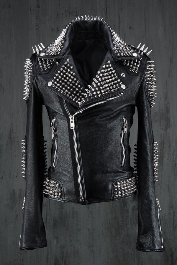 Mens Black Color Studded Leather Jacket, Punk Style Silver