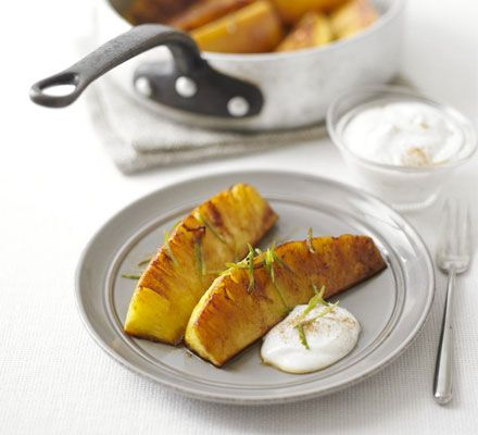 Spiced glazed pineapple with cinnamon fromage frais recipe