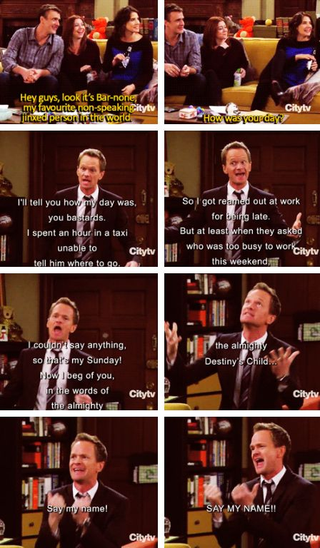 """Barney being jinxed...""""In the words of the almighty Destiny's Child...Say my name! SAY MY NAME!"""""""