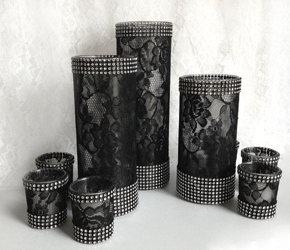 9 piece black lace covered glass vases and votive by PinKyJubb