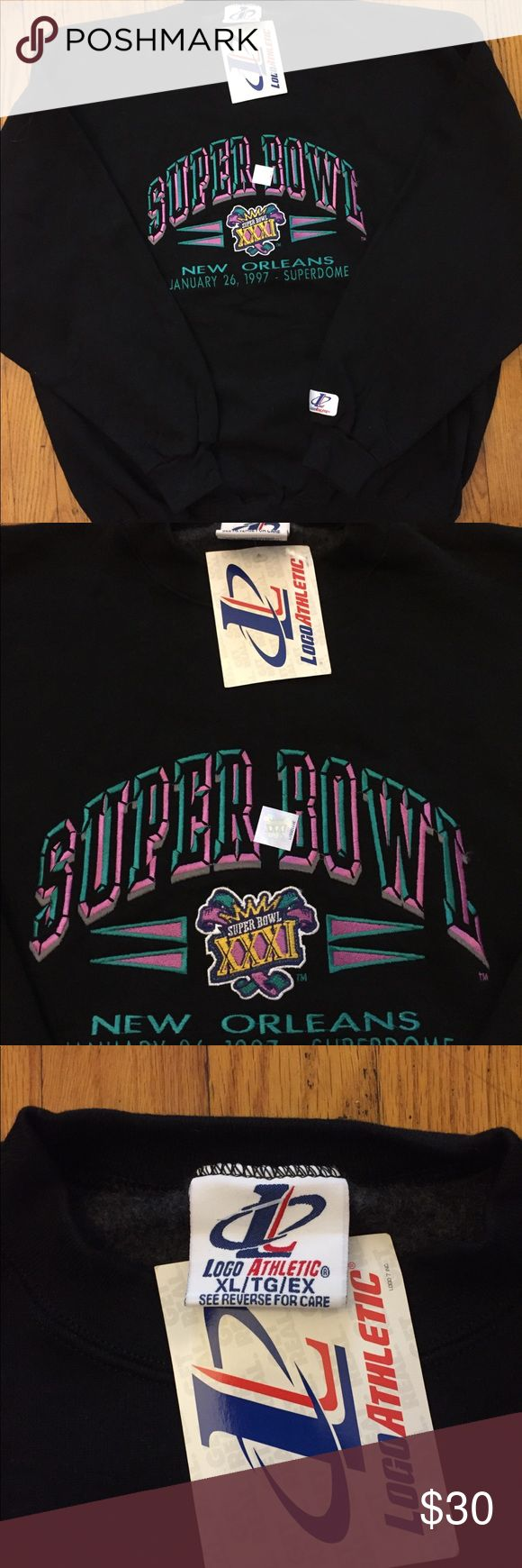Vintage Super Bowl 1997 crewneck Vintage 1997 Super Bowl crewneck. New with tags. Great contrition. Really cool crewneck for any sport fan. No rips or stains Logo Athletic Sweaters Crewneck
