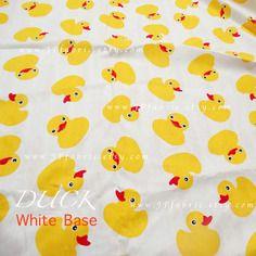 Tissu coton canard jaune et blanc. vendu par 150 x 50cm. jp100240