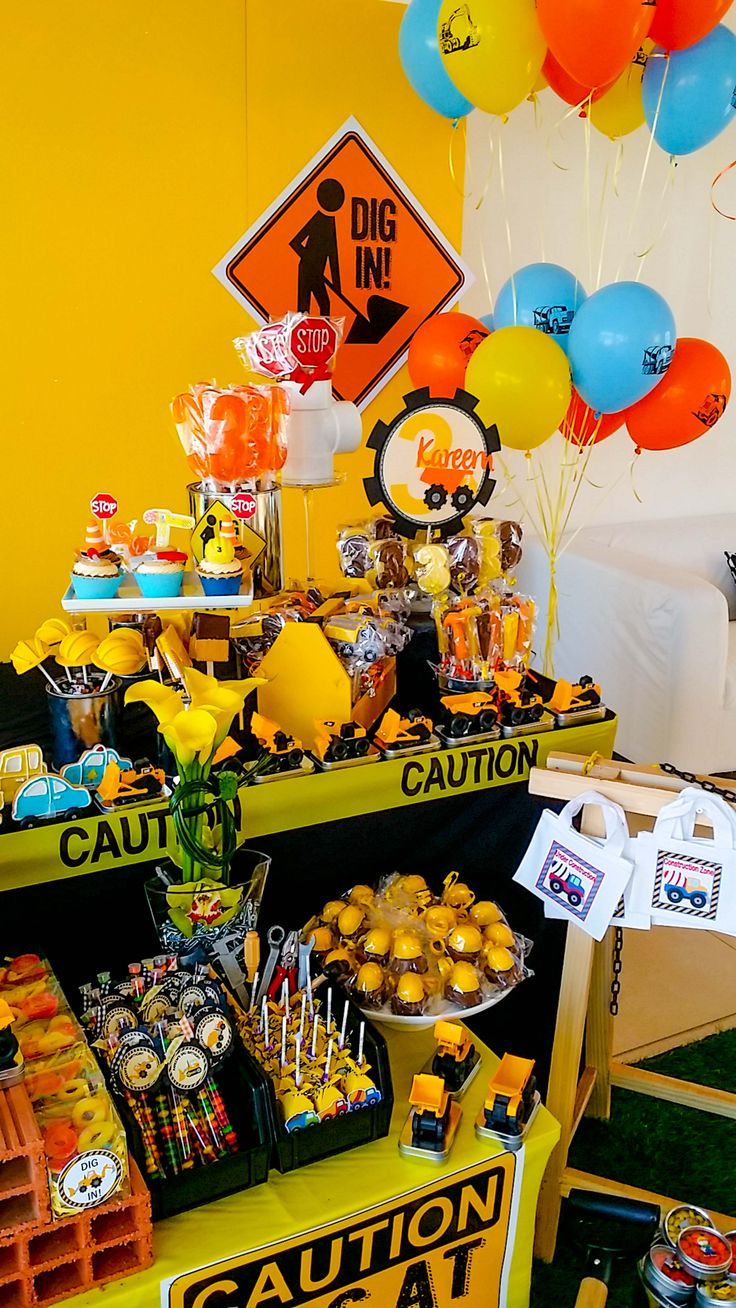 Sweets & Cakes Table for the amazing construction party by @Fantasyparty #littlebuilders #construction #fantasyparty