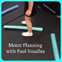 Motor planning and physical activity with Pool Noodles/ Cut noodles and put in pattern and jump from one to another landing with foot on each side of noodle