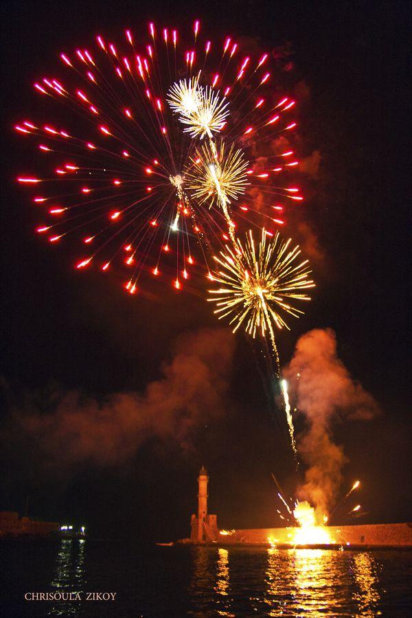 New Year Fireworks, Chania, Crete
