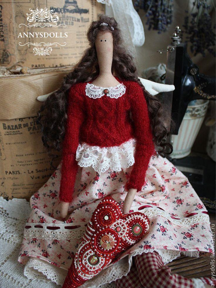 Купить Тэсса - бордовый, темно-красный, розы из фоамирана, бисерное кружево, ангел, тильда ангел