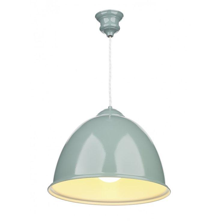David Hunt Lighting EUS0173 Euston Blue Verditer Pendant Light with White Gloss inner