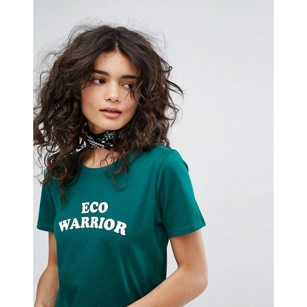 People Tree Organic Cotton T-Shirt With Eco Warrior Slogan ($52) ❤ liked on Polyvore featuring tops, t-shirts, organic cotton t shirts, slogan t shirts, slogan tees, crewneck tee and crew-neck tee
